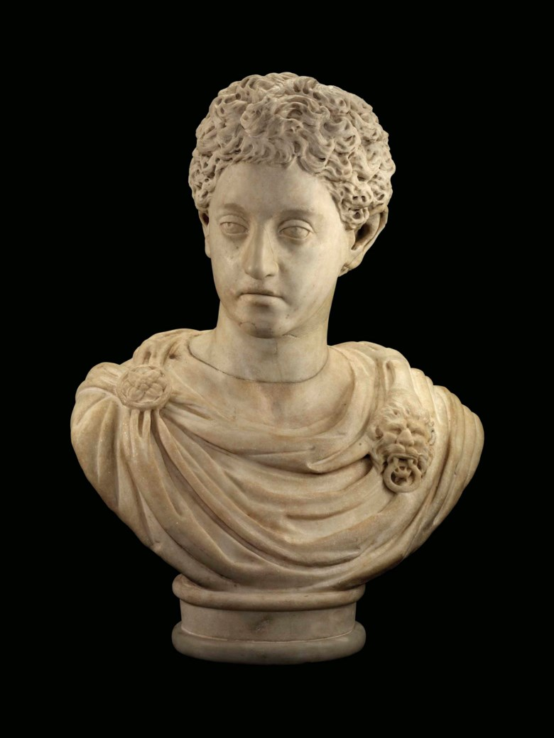 A Roman marble portrait head of the young Commodus, circa 175-177 AD. Head 11¼  in (29  cm) high. Estimate £50,000-80,000. Offered in Antiquities on 3 July 2018 at Christie's in London