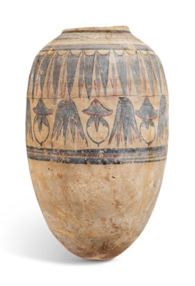 AN EGYPTIAN PAINTED POTTERY JAR