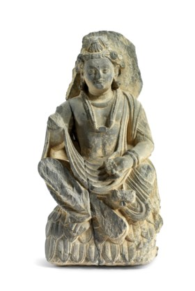 A GREY SCHIST FIGURE OF PADMAPANI