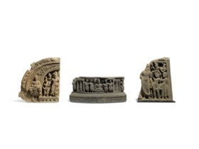 THREE FRAGMENTS WITH SCENES OF THE LIFE OF THE BUDDHA