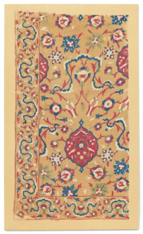 AN OTTOMAN EMBROIDERED QUILT PANEL