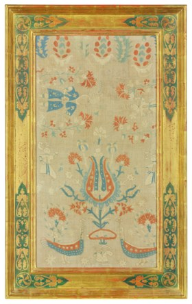 A PAIR OF EMBROIDERED FIGURAL PANELS
