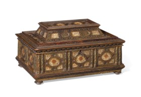 A GILT-WOOD AND MOTHER-OF-PEARL INSET CASKET