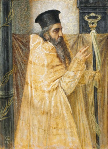 Simeon Solomon (1840-1905), A Bishop of the Eastern Church, 1874. 12 x 8⅞  in (30.5 x 22.6  cm). This lot was offered in Victorian Pre-Raphaelite & British Impressionist Art on 11 July 2018 at Christie's in London and sold for £11,250
