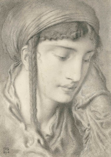 Simeon Solomon (1840-1905), A Hebrew Girl, 1874. 11⅞ x 8⅜  in (30.2 x 21.3  cm). This lot was offered in Victorian Pre-Raphaelite & British Impressionist Art on 11 July 2018 at Christie's in London and sold for £16,250