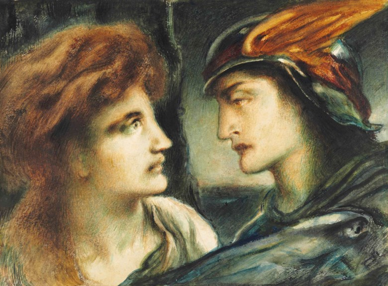 Simeon Solomon (1840-1905), Mercury and Proserpina. 9⅞ x 13¼  in (25.1 x 33.6  cm). This lot was offered in Victorian Pre-Raphaelite & British Impressionist Art on 11 July 2018 at Christie's in London and sold for £11,250