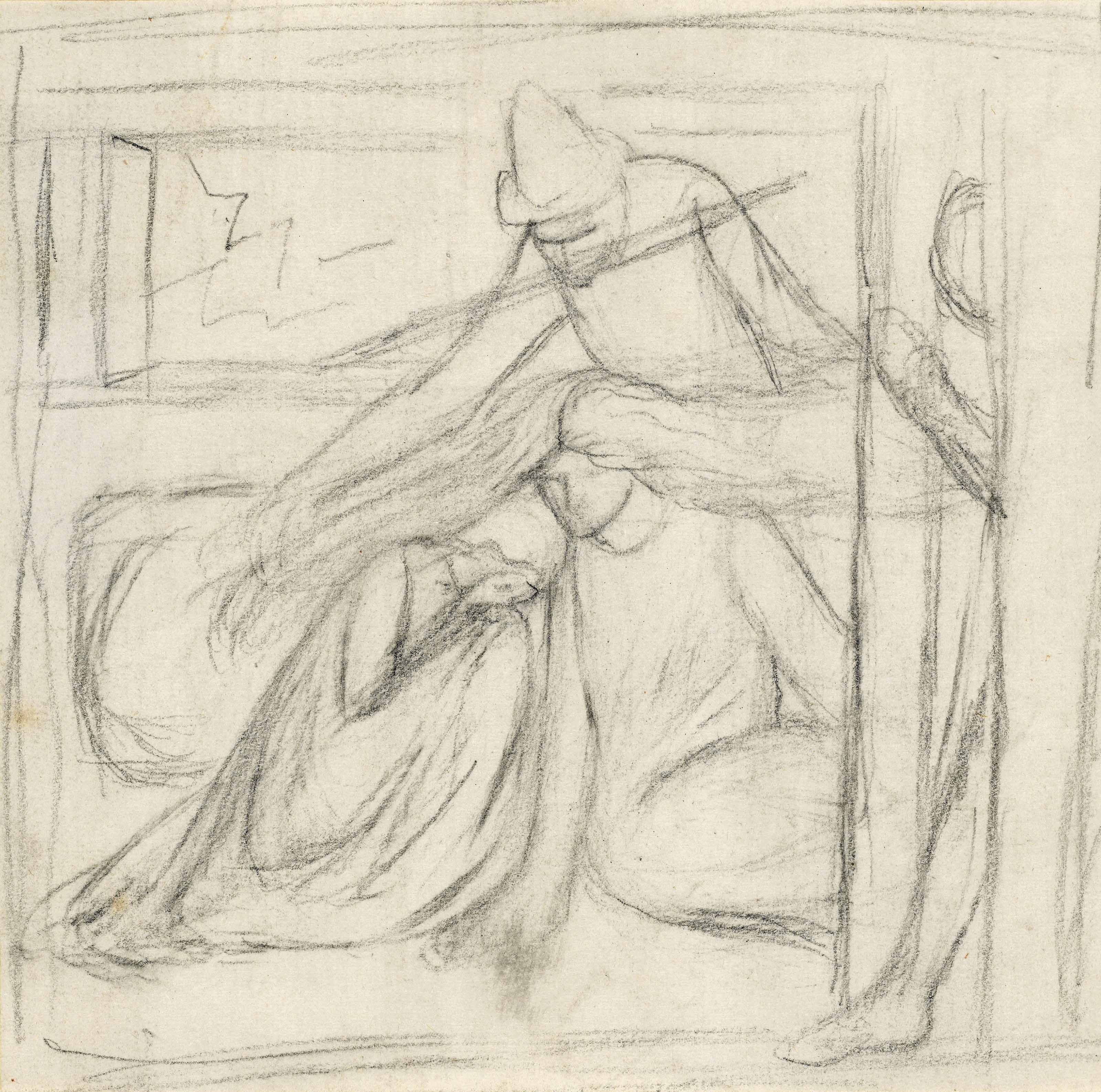 Study of a woman and a man seated on the ground, a further male figure standing behind