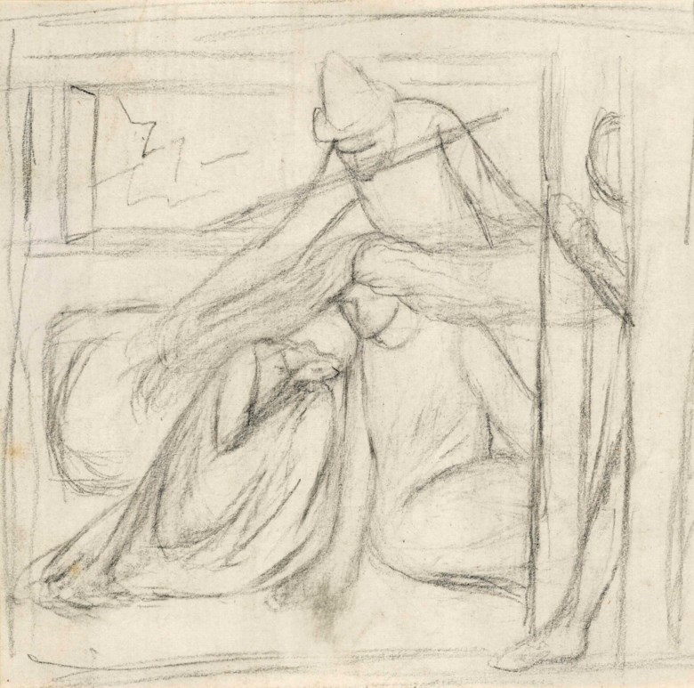 Elizabeth Rossetti, née Siddal (1834-1862), Study of a Woman and a Man Seated on the Ground, a Further Male Figure Standing Behind. Pencil on paper. 4⅜ x 4½  in (11.1 x 11.4  cm). Sold for £2,500 on 11 July 2018 at Christie's in London