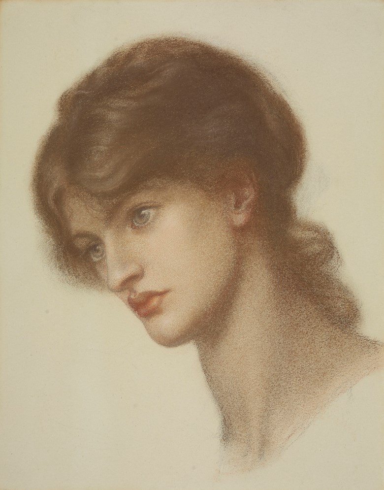 Dante Gabriel Rossetti (1828-1882), Head Study of Marie Spartali Stillman (1844-1927) for 'Dantes Dream'. Pencil and coloured chalks on duck-egg blue paper. 14¼ x 11⅝  in (36.2 by 29.5  cm) (folded); 21½ x 24  in (54 x 61  cm) (overall sheet size). Sold for £320,750 on 11 July 2018 at Christie's in London