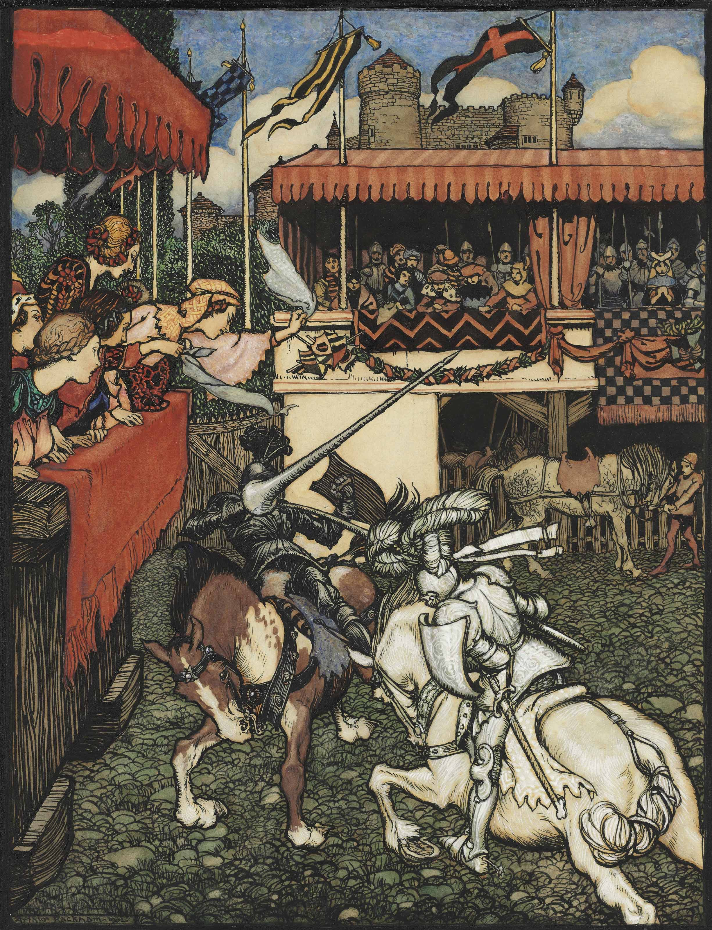 Sir Tristram defeats Sir Palamedes in Ireland