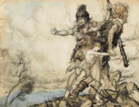 The giants Fasolt and Fafner abducting Freia, Goddess of Love (from 'Das Rheingold' by Wagner, Scene II)