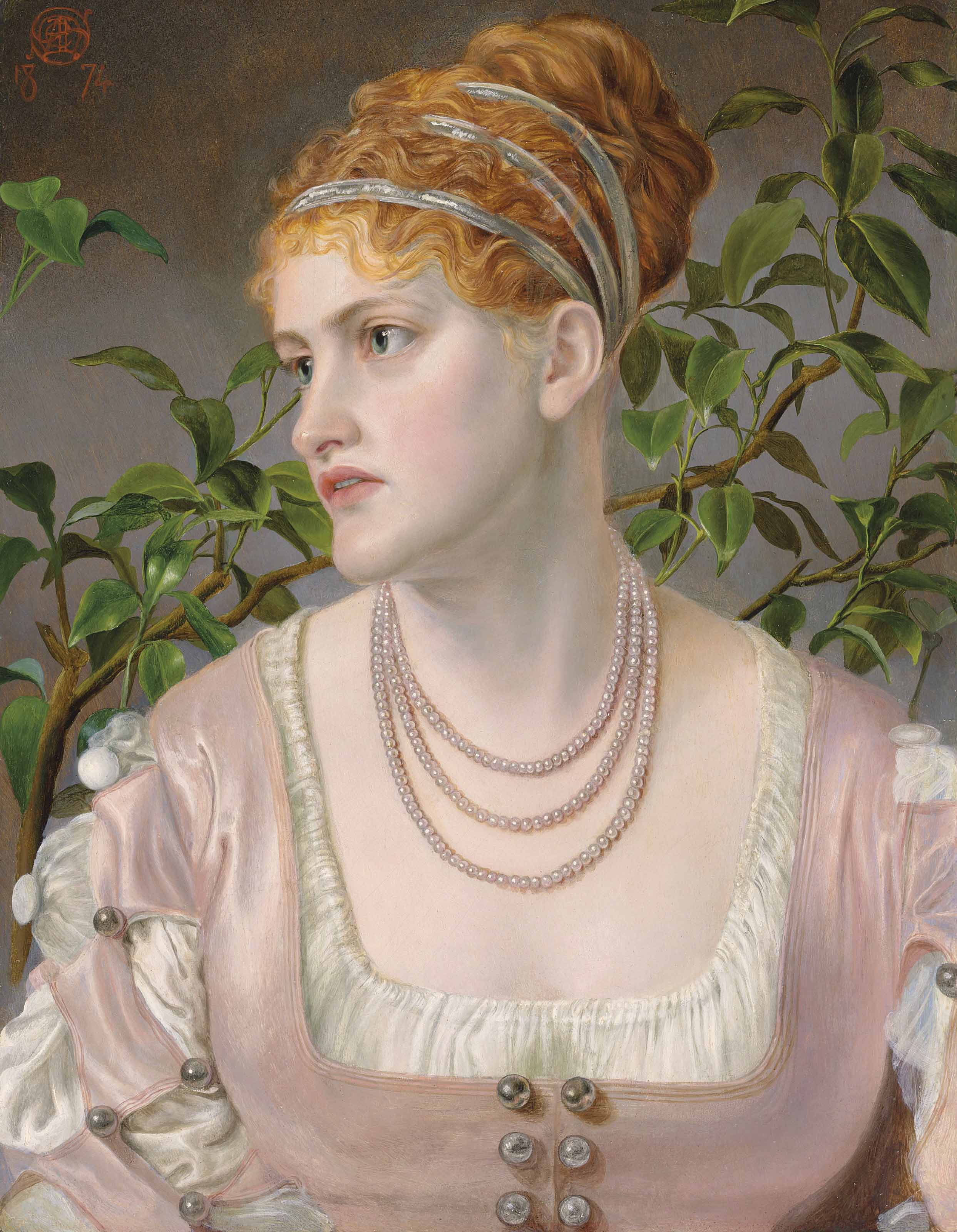 Portrait of Mary Emma Jones, bust-length, wearing a pearl necklace
