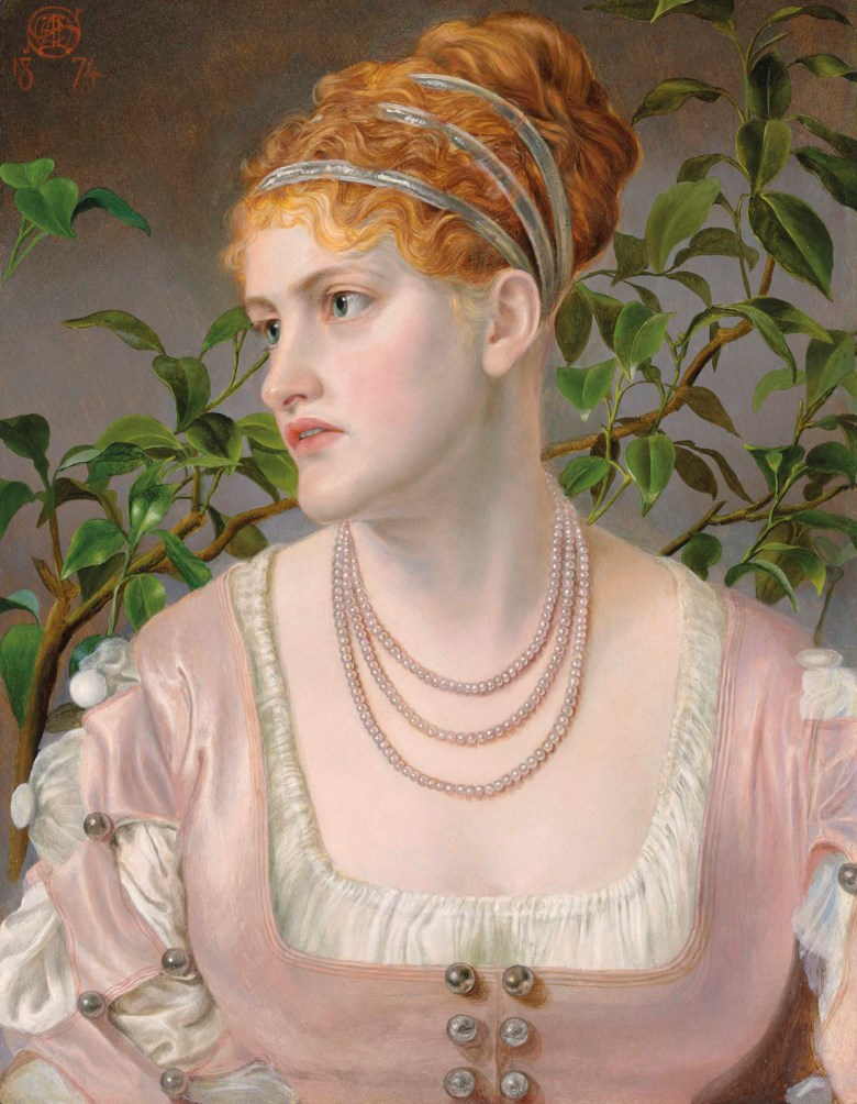 Emma Sandys (1834-1877), Portrait of Mary Emma Jones, Bust-Length, Wearing a Pearl Necklace. Oil on board. 20 x 15¼  in (50.8 x 38.8  cm). Sold for £62,500 on 11 July 2018 at Christie's in London