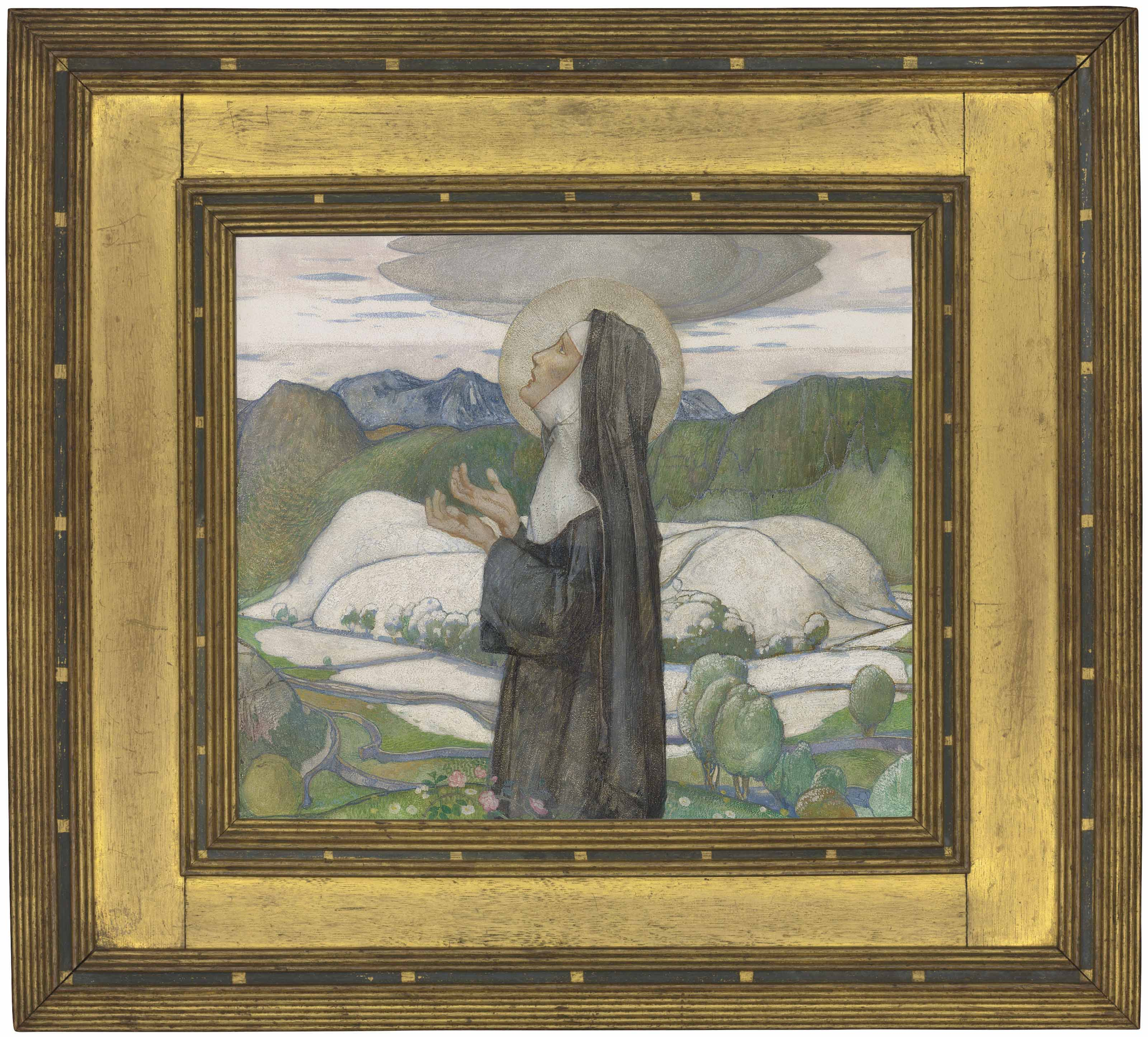 A female saint, possibly St Bega of Cumbria