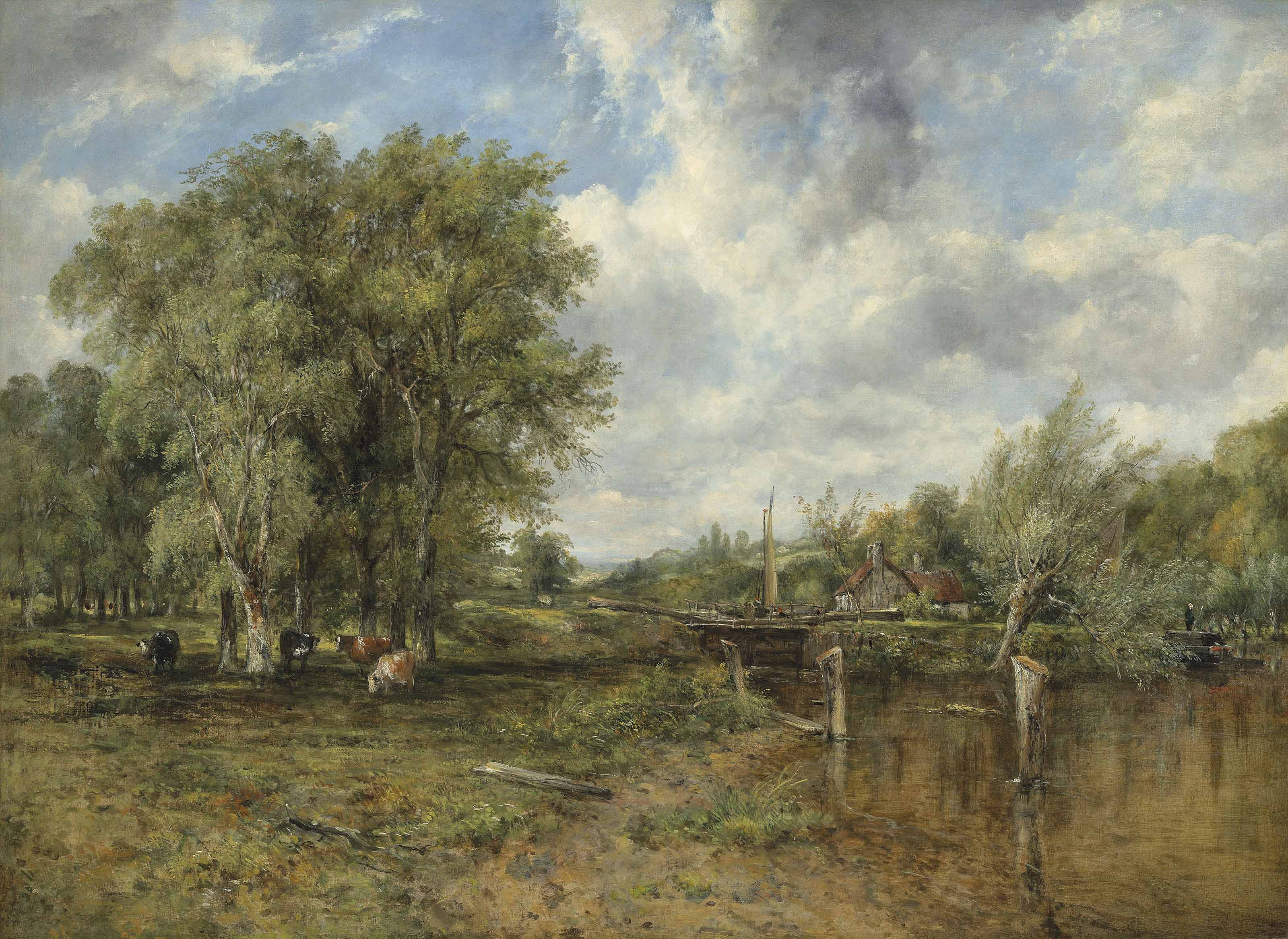 A wooded landscape with a cattle and cottage beyond