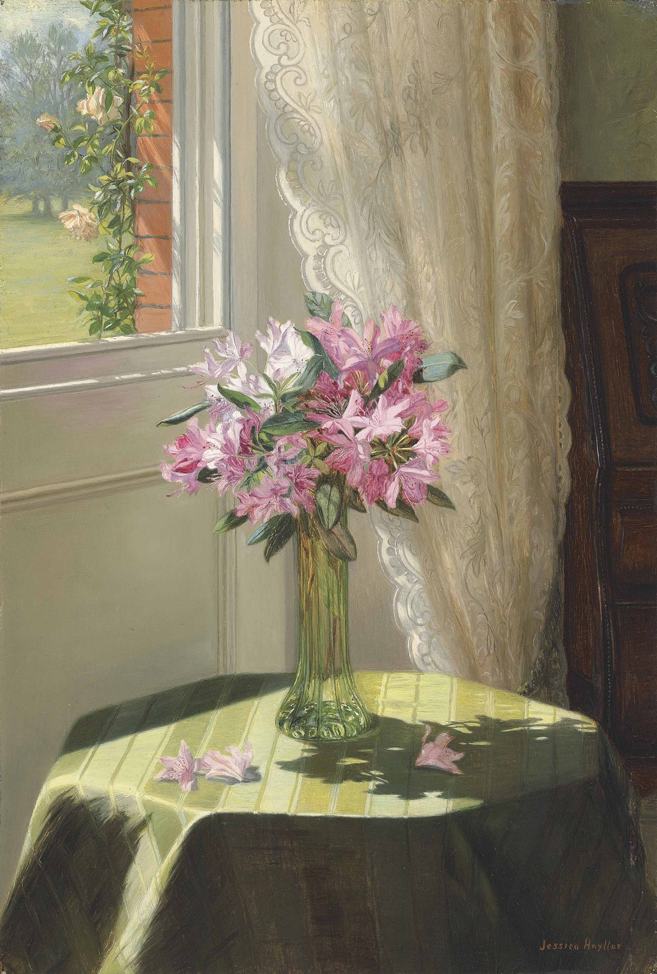 Rhododendrons by a window