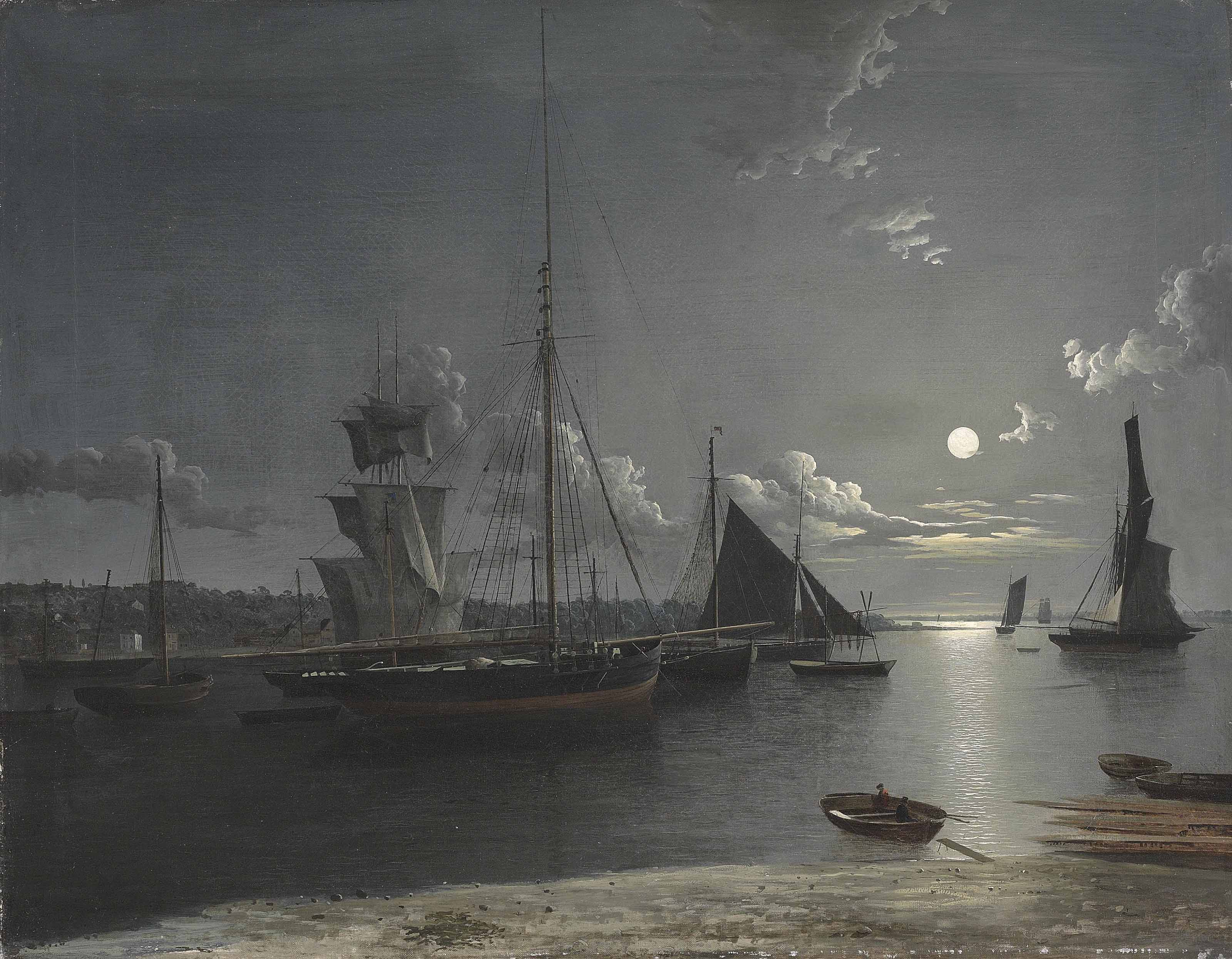 Shipping in the estuary under moonlight