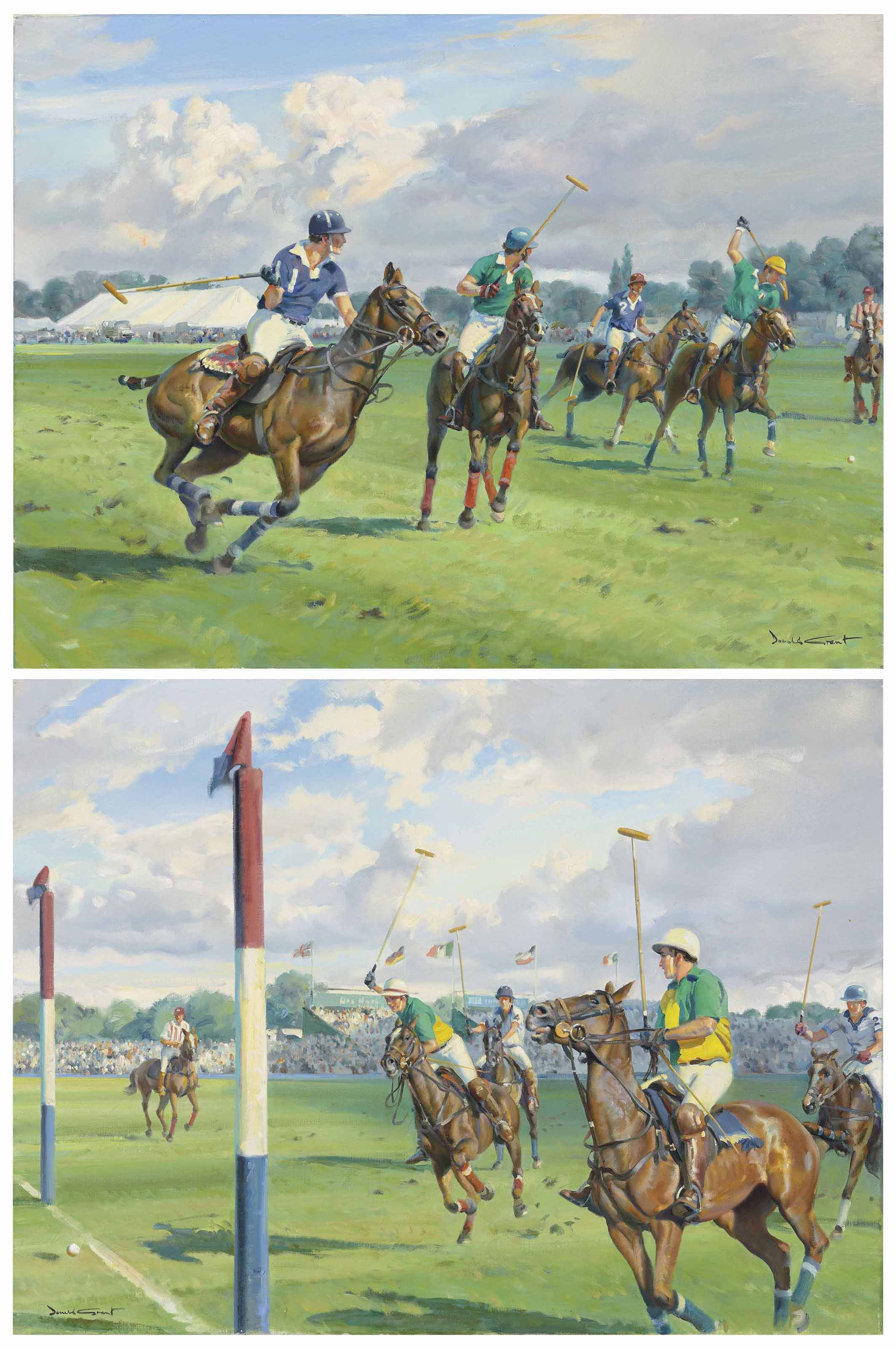 Two polo scenes: Going for the ball; and At the goal