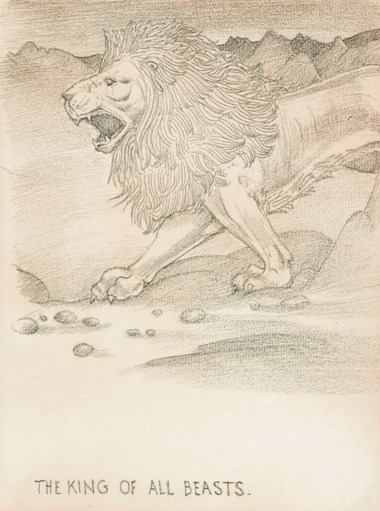 Sir Edward Coley Burne-Jones, Bt., A.R.A., R.W.S. (1833-1898), The King of all Beasts. 10 x 7¾  in (25.4 x 19.7  cm). Sold for £10,625 on 11 December 2018 at Christie's in London