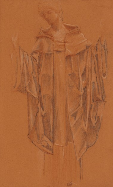 Sir Edward Coley Burne-Jones, Bt., A.R.A., R.W.S. (1833-1898), Study of a cloaked figure, probably the angel in The Failure of Sir Lancelot. 16 x 10¼  in (40.6 x 26  cm). Estimate £6,000-8,000. Offered in Victorian, Pre Raphaelite & British Impressionist Pictures on 11 December 2018 at Christie's in London