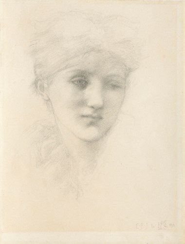 Sir Edward Coley Burne-Jones, Bt., A.R.A., R.W.S. (1833-1898), Portrait head of a young woman. 13½ x 10¼  in (34.3 x 26  cm). Estimate £30,000-50,000. Offered in Victorian, Pre Raphaelite & British Impressionist Pictures on 11 December 2018 at Christie's in London