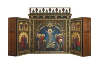 A reredos depicting the Ascension of Christ, surrounded by the Four Evangelists, for Holy Trinity Church, Bournemouth