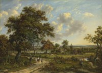 A wooded landscape with travellers on a track