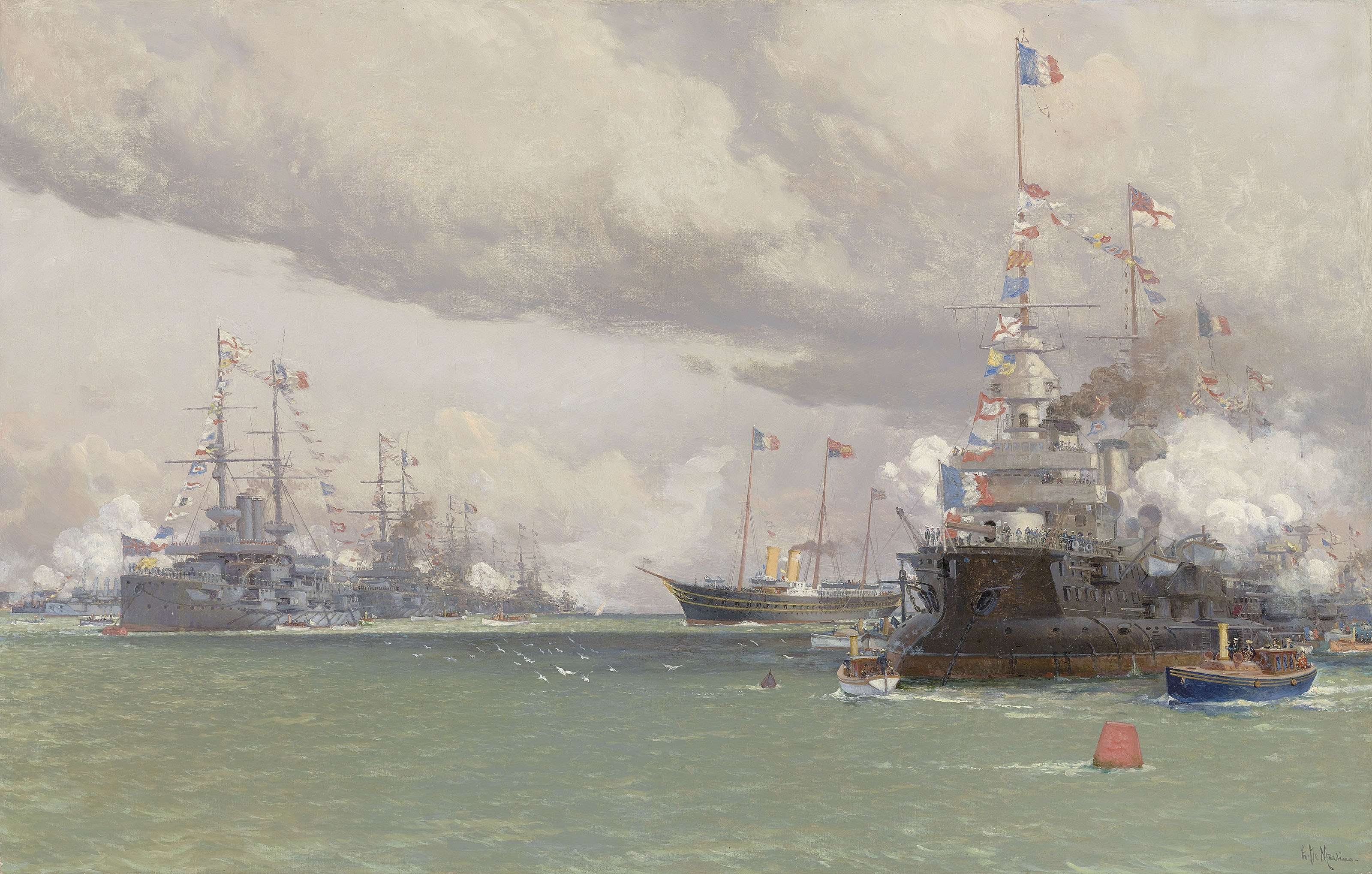 L'Entente Cordiale: The Royal Yacht Victoria & Albert III reviewing the Anglo-French fleet in Cowes Road, 1905