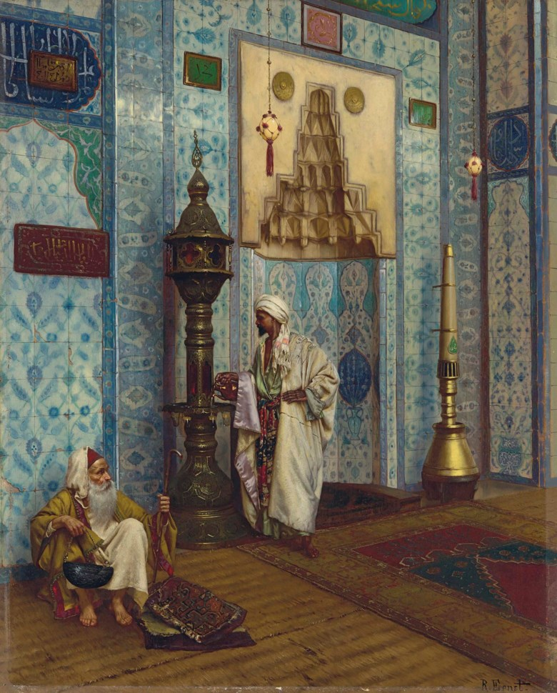 Rudolf Ernst (1854-1932), In the Mosque. Oil on panel. 23¼ x 28¾  in (59 x 73  cm). Sold for £488,750 on 12 July 2018 at Christie's in London