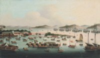 The anchorage at Whampoa Island with Dutch, British, Swedish, French, Danish, Spanish and American moored offshore
