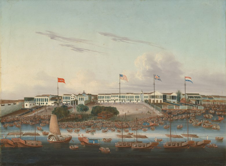 Chinese School, The Spanish, American, British, and Dutch Hongs at Canton, circa 1826. 23 x 31 ½ in (58.4 x 80 cm). Estimate £40,000-60,000. This lot is offered in Topographical Pictures with Australian Art on 14 December 2018 at Christie's in London