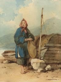 A Tanka boat woman by a sampan on the shore at Macao