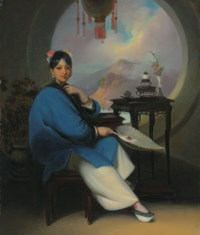 A Chinese woman seated, wearing flowers in her hair, jade earrings and blue nankeen dress, holding a feather fan, before a moon window, with a view to a Chinese coastal landscape beyond