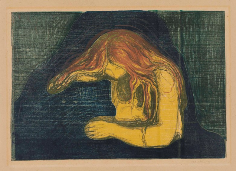 Edvard Munch (1863-1944), Vampire II. Block 380 x 553  mm, sheet 525 x 613  mm. Estimate £250,000-350,000. This lot is offered in Prints & Multiples on 28 March 2018  at Christie's in London
