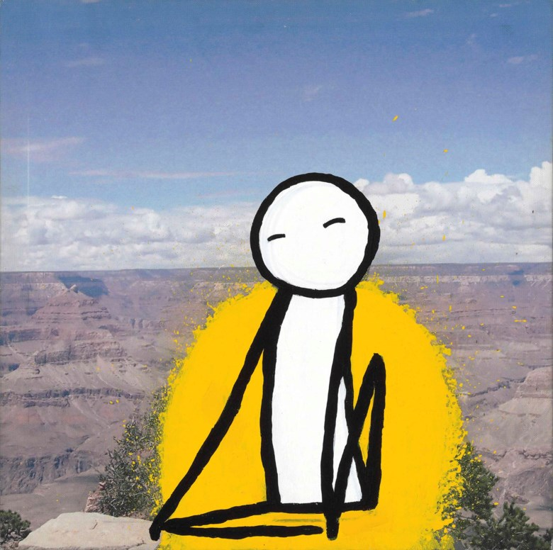 Stik (b. 1979), Seated Figure. 400 x 400 x 45  mm (overall). Sold for £8,125 on 28 March 2018  at Christie's in London