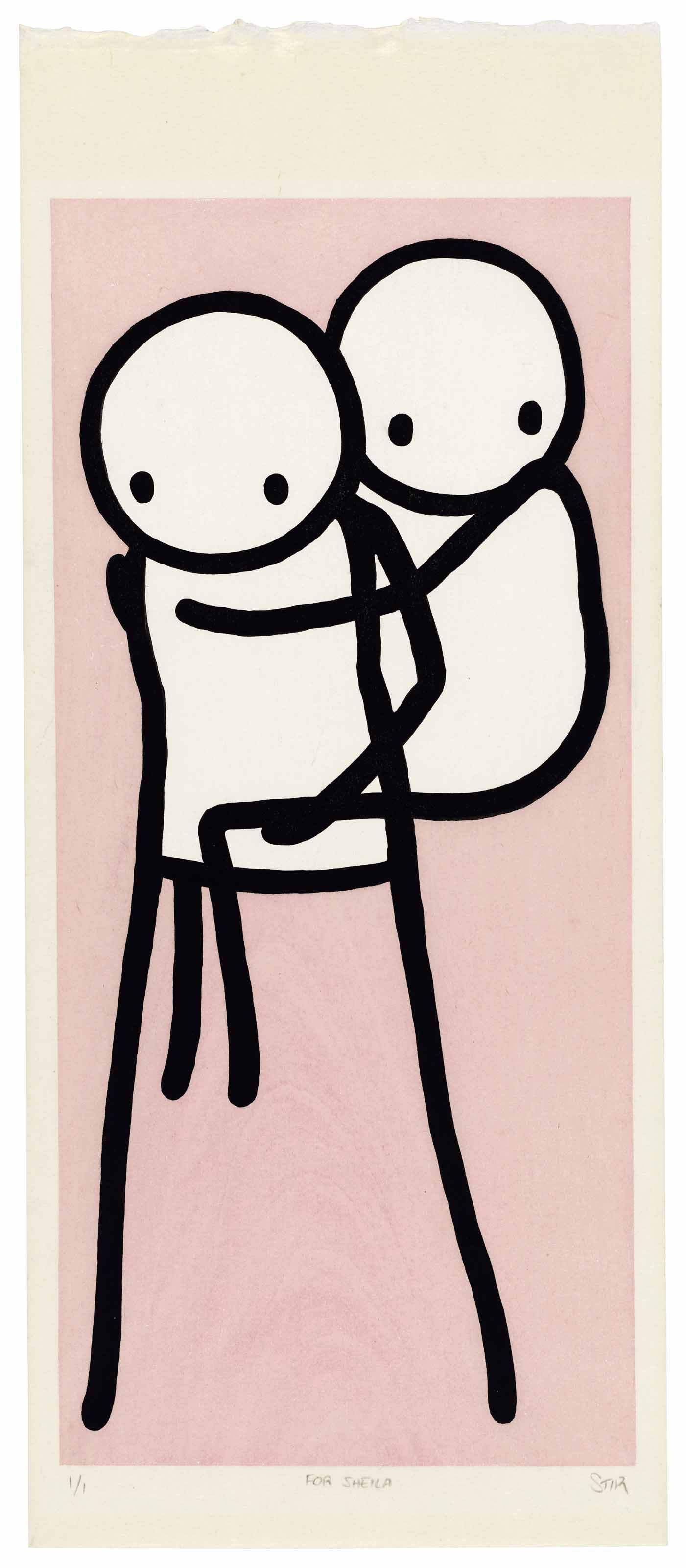 Stik (b. 1979), Onbu (Piggyback). Block 395 x 180 mm, Sheet 477 x 200 mm. Sold for £15,000 on 28 March 2018 at Christie's in London