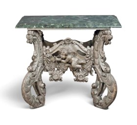 A DUTCH SILVERED WOOD 'KWAB' CONSOLE TABLE