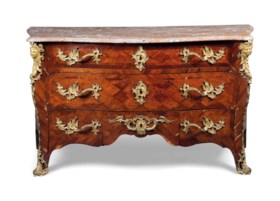 A REGENCE ORMOLU-MOUNTED KINGWOOD PARQUETRY COMMODE