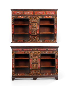 A NEAR PAIR OF ANTIQUARIAN TORTOISESHELL, IVORY, BONE AND PEWTER-INLAID FRUITWOO