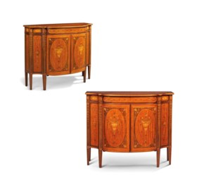 A PAIR OF LATE VICTORIAN SATINWOOD AND SYCAMORE MARQUETRY SIDE CABINETS