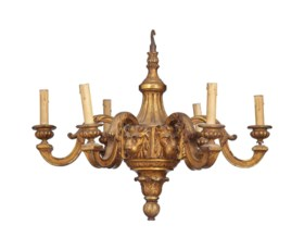 AN ENGLISH GILTWOOD SIX-LIGHT CHANDELIER