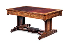 A NORTH EUROPEAN NEO-GOTHIC ROSEWOOD AND FRUITWOOD MARQUETRY PARTNER'S DESK