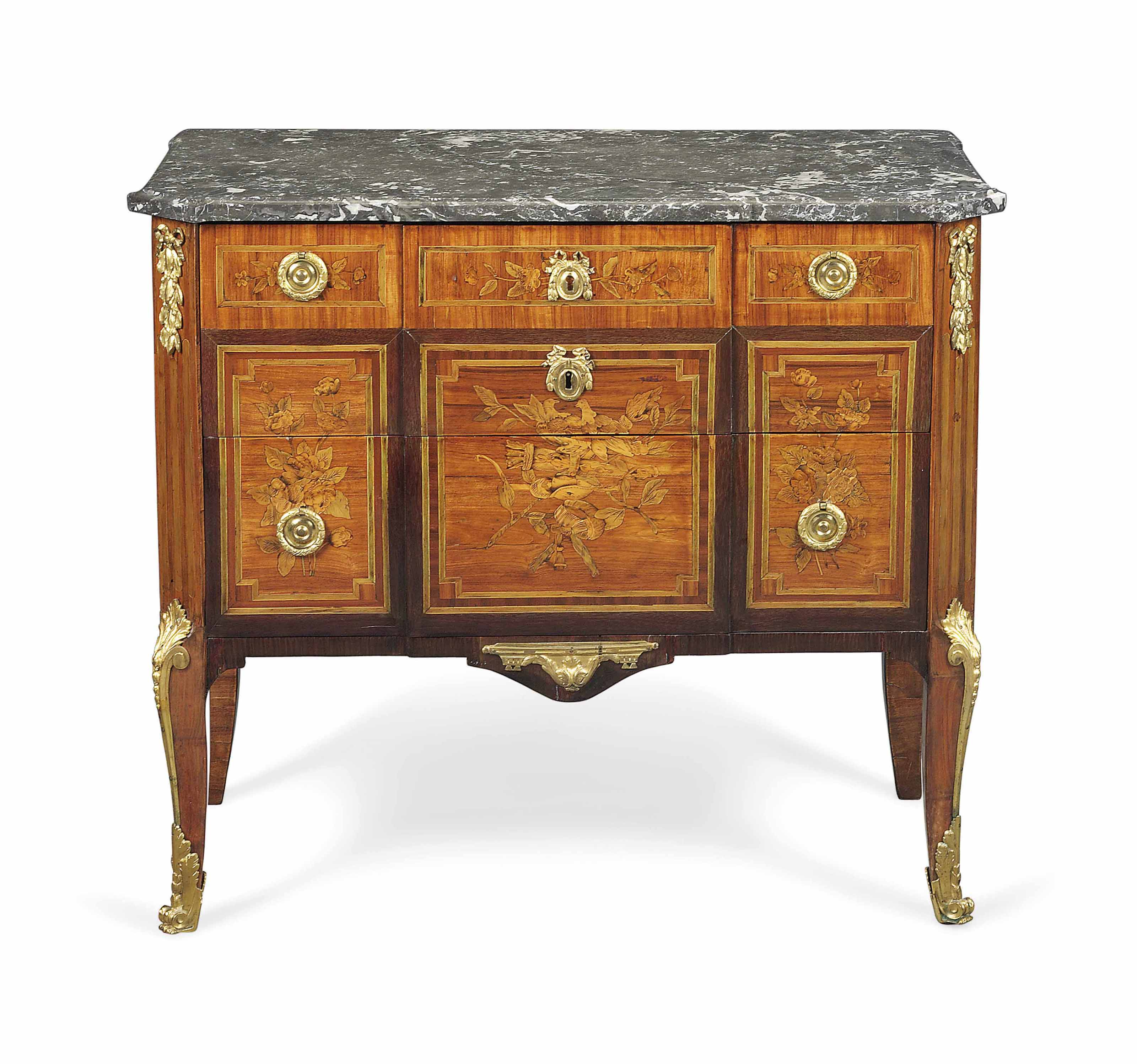 A LOUIS XVI ORMOLU-MOUNTED AMARANTH, TULIPWOOD AND FRUITWOOD MARQUETRY COMMODE
