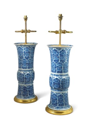A PAIR OF CHINESE BLUE AND WHITE VASES FITTED AS LAMPS