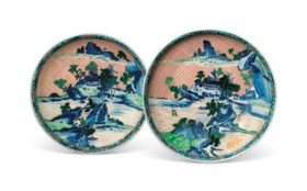 TWO SIMILAR MASSIVE CHINESE FAMILLE VERTE 'LANDSCAPE' DISHES