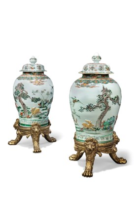 TWO LARGE FAMILLE VERTE JARS AND COVERS