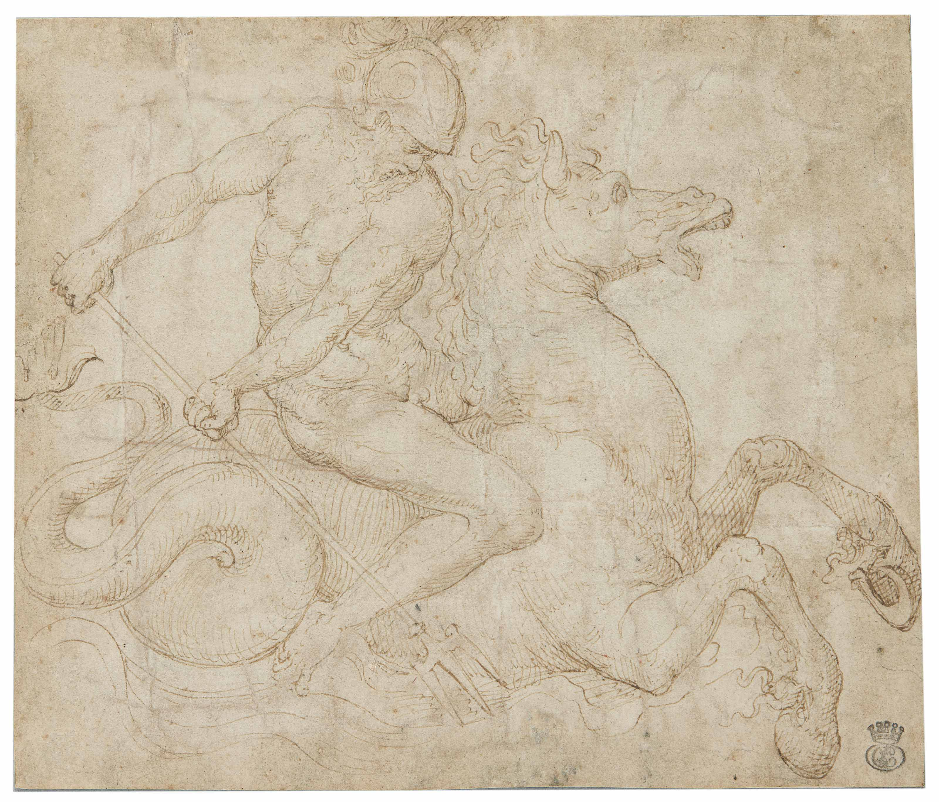 Neptune on a hippocamp wielding a trident