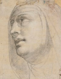 A veiled woman looking to the left