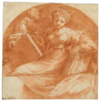 A seated sybil holding books and a tablet with a putto