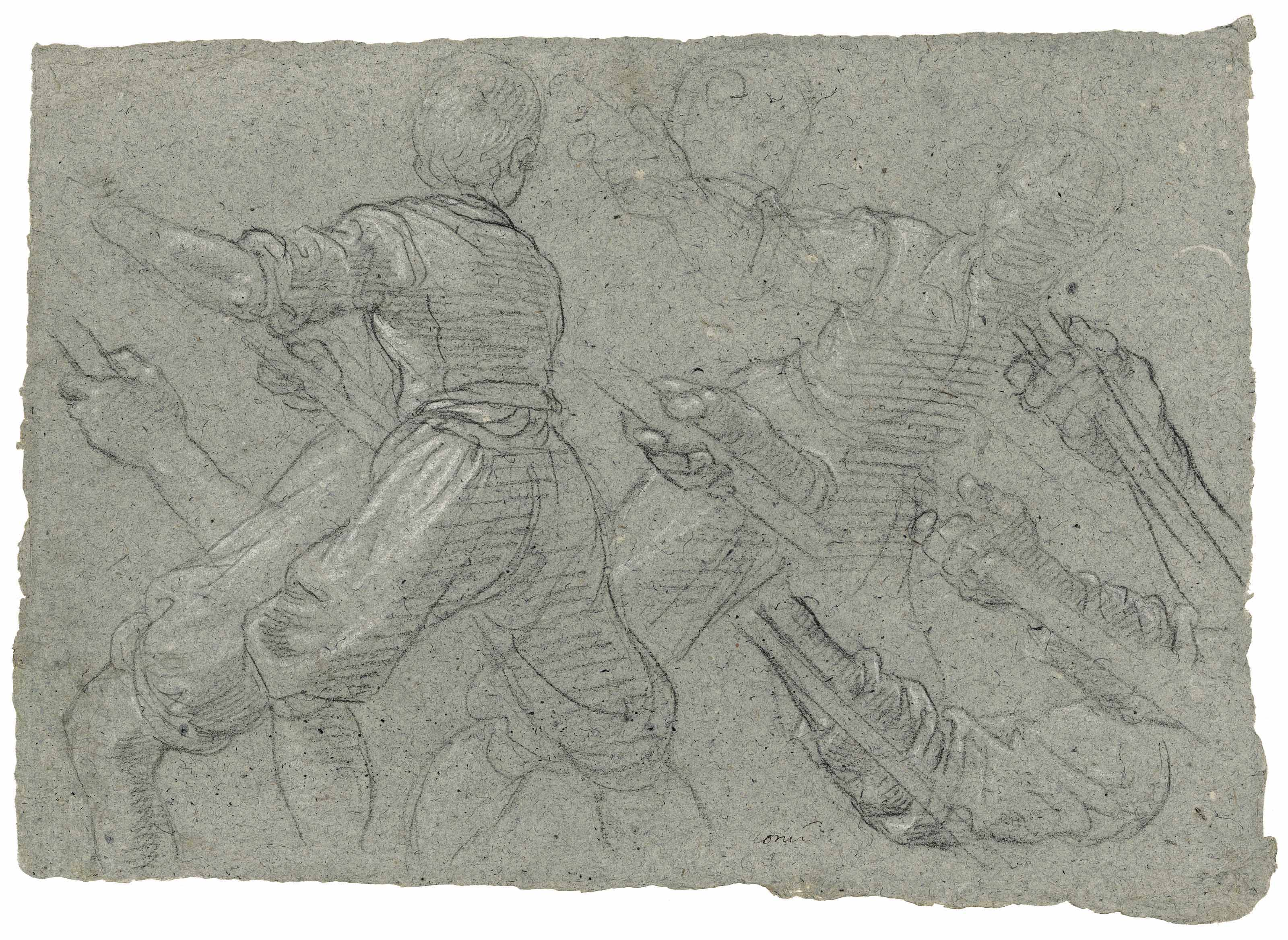 Studies of a youth pulling ropes or poles (recto); A faint study of the same (verso)